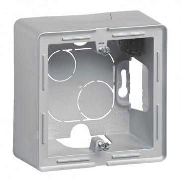 1-gang surface-mounting box Valena Life - 89 x 89 x 44.8 mm - aluminium