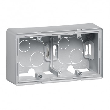 2-gang surface-mounting box Valena Life - 160 x 89 x 44.8 mm - aluminium