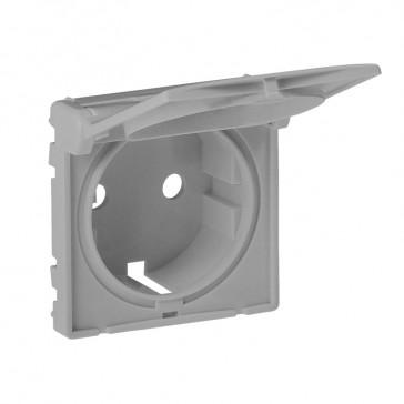 Cover plate Valena Life - 2P+E socket - German standard - with flap - aluminium