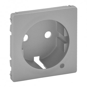 Cover plate Valena Life - 2P+E socket - German standard - with indicator - aluminium