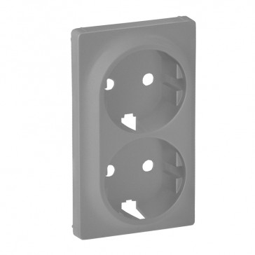 Cover plate Valena Life - 2x2P+E socket - German standard - aluminium