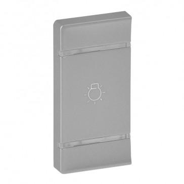 Cover plate Valena Life - light symbol - left-hand side mounting - aluminium