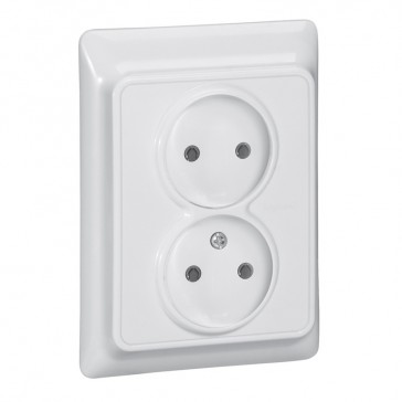 2 x 2P socket outlet Kaptika - flush mounting - 16 A 250 V~ - white