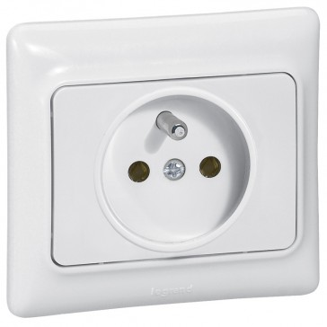 2P+E French standard socket outlet with shutters Kaptika - 16 A 250 V~ - white