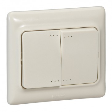 Double one-way switch Kaptika - flush mounting - 10 AX 250 V~ - ivory