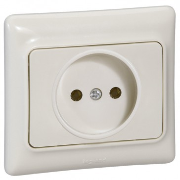 2P socket outlet with sutters Kaptika - flush mounting - 16 A 250 V~ - ivory