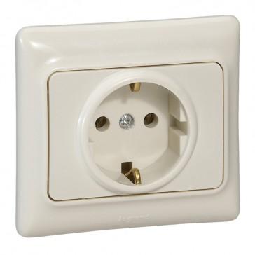 2P+E German standard socket outlet Kaptika -flush mounting- 16 A 250 V~ -ivory