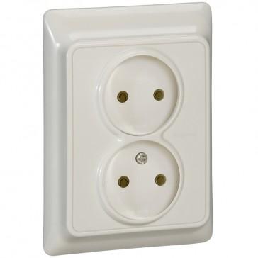 2 x 2P socket outlet Kaptika - flush mounting - 16 A 250 V~ - ivory