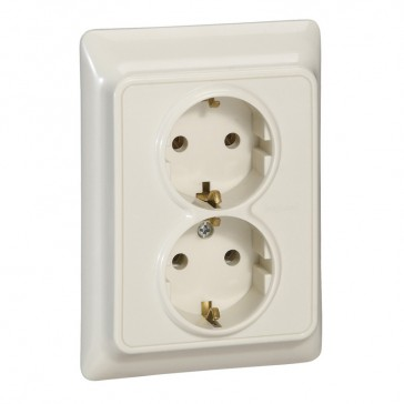 2 x 2P+E German standard socket outlet Kaptika -flush mounting- 16 A 250 V~ - ivory