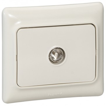 Television socket Kaptika - flush mounting - male connector - ivory
