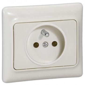 2P+E French standard socket outlet Kaptika - flush mounting - 16 A 250 V~ - ivory