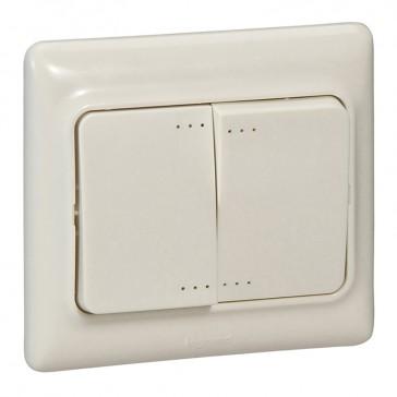 Double two-way switch Kaptika- flush mounting - 10 AX 250 V~ - ivory