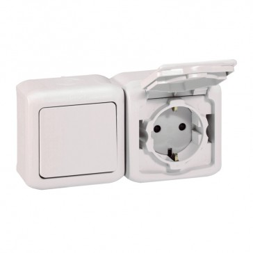 Two-way switch + 2P+E French standard socket outlet Forix - 16 A 250 V~ - white