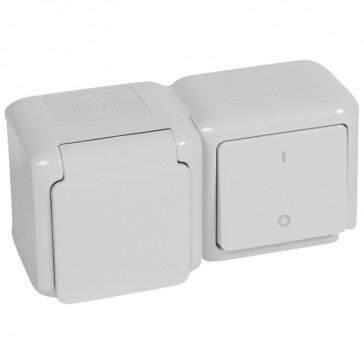 Double pole switch + 2P+E German standard socket outlet Forix - 16 A-250 V~ - grey