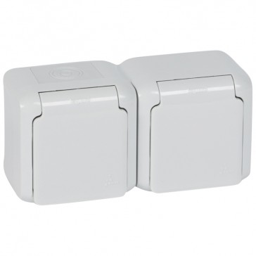 2 x 2P+E French standard socket outlet Forix - surface mounting - 16 A 250 V~ -grey