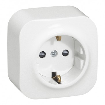 German standard socket 2P+E Forix - surface mounting - IP2X - 16 A 250 V~ - white