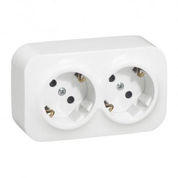 German standard socket 2 x 2P+E Forix - surface mounting - IP2X - 16 A 250 V~ -white