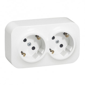 German standard socket 2x2P+E Forix - with shutters - IP2X - 16 A 250 V~ - white