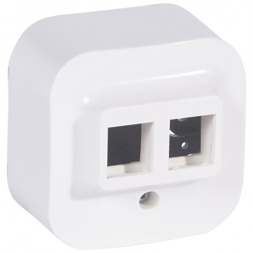 RJ 45 keystone double connector adaptor Forix - white