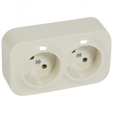 2 x 2P socket outlet Forix - surface mounting - IP2X - 16 A 250 V~ - ivory