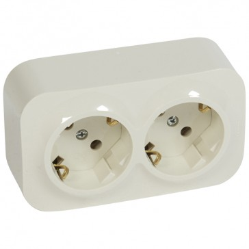 German standard socket 2 x 2P+E Forix - surface mounting - IP2X - 16 A 250 V~ -ivory