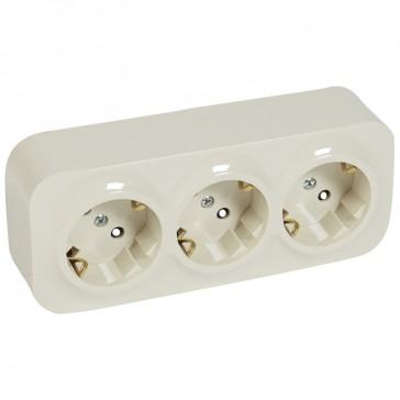 German standard socket 3 x 2P+E Forix - with shutters - IP2X - 16 A 250 V~ - ivory