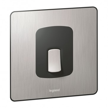 Double pole switch Synergy - 20 A 250 V~ - Sleek Design brushed stainless steel