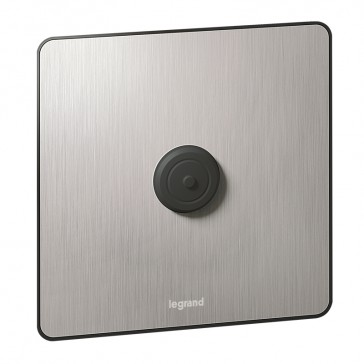 Cord outlet Synergy - 1 gang - Sleek Design brushed stainless steel