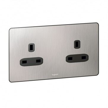 British standard Synergy -2 gang unswitch -13 A -250 V~ Sleek Design brushed stainless steel