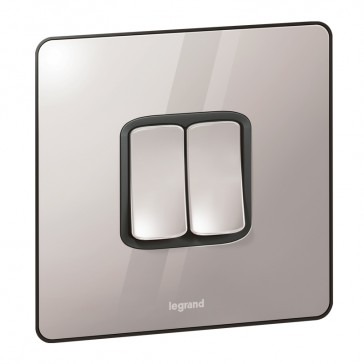 Single Pole plate switch Synergy -2 gang -2-way -20 AX -250 V~ Sleek Design polished stainless steel