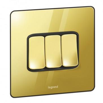 Single Pole plate switch Synergy -3 gang -2-way -20 AX -250 V~ Sleek Design glossy gold