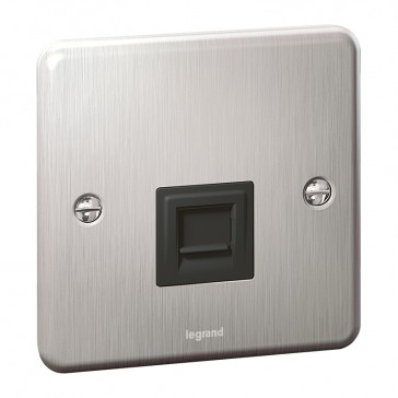 Telephone socket Synergy - UK master - Authentic brushed stainless steel