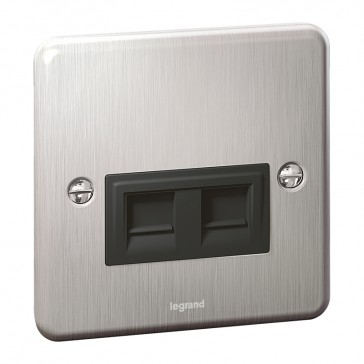 RJ 45 category 6 socket Synergy - twin - Authentic brushed stainless steel