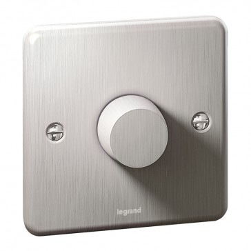Rotary universal dimmer Synergy - 1 gang - 5 W/300 W- Authentic brushed stainless steel