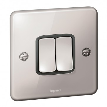 Plate switch Synergy -2 gang -2 way -10 AX -250 V~ - Authentic polished stainless steel