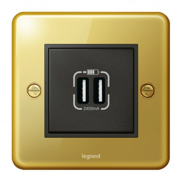 British standard double USB socket Synergy - Authentic glossy gold