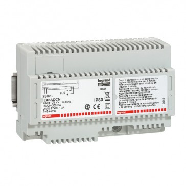 Power supply input 230 V~ output 27 V= 1.2 A for MyHOME_Up installation - 8 DIN modules