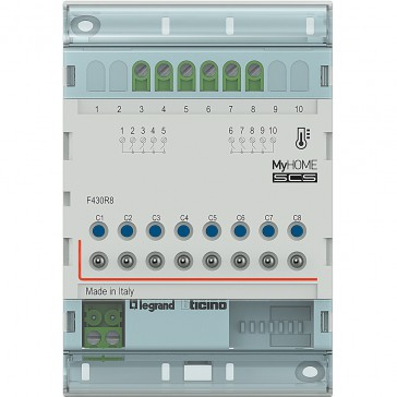 Actuator MyHOME_Up with 8 independent relays for the control of valves, pumps and fan coils - 4 DIN modules