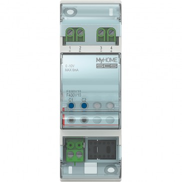 Actuator MyHOME_Up with 2 outputs 0-10 V for the control of proportional valves - 2 DIN modules
