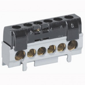 IP2X terminal block - phase (black) - 1 x 10 to 35² - 5 x 6 to 25² - L. 62 mm