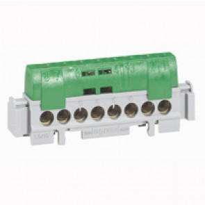 IP2X terminal block - earth (green) - 1 x 6 to 25² - 16 x 1.5 to 16² -L. 141 mm