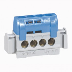 IP2X terminal block - neutral (blue) - 4 x 1.5 to 16² - L. 47 mm