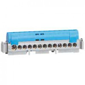IP2X terminal block - neutral (blue) - 1 x 6 to 25² - 12 x 1.5 to 16² -L.113 mm