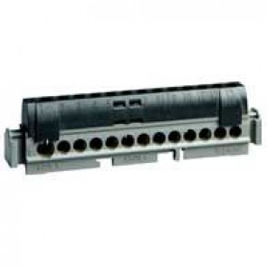 IP2X terminal block - phase (black) - 1 x 6 to 25² - 12 x 1.5 to 16² -L. 113 mm
