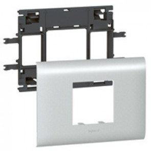 Mosaic / Arteor support-for aluminium adaptable DLP cover depth 85 mm - 2 modules