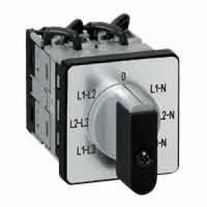 Cam switch - voltmeter - PR 12 - 16 A - 4 contacts - 3 CT without neutral - screw fixing