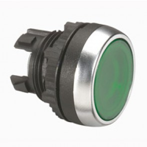 Osmoz illuminated spring return head - flush - green