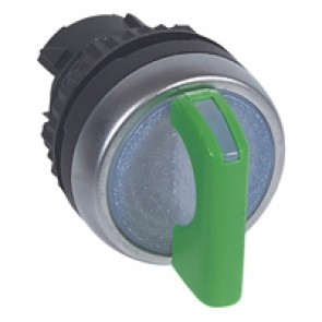 Osmoz illuminated standard handle selector switch - 2 stay-put positions 90° - green