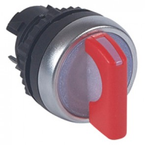 Osmoz illuminated standard handle selector switch - 3 stay-put positions 45° - red