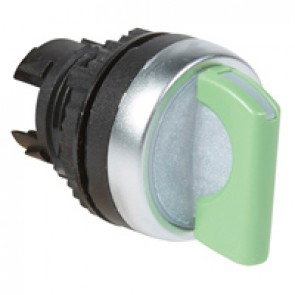 Osmoz illuminated standard handle selector switch - 3 stay-put positions 45° - green